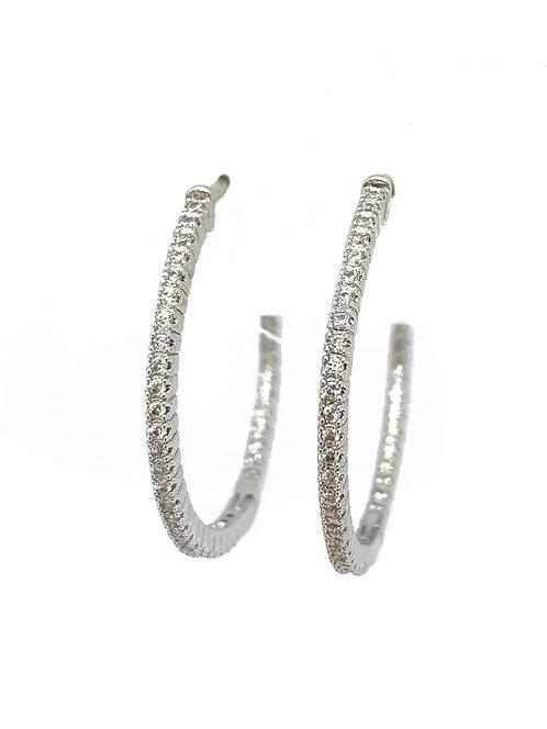 Cz Medium Thin Silver Hoops