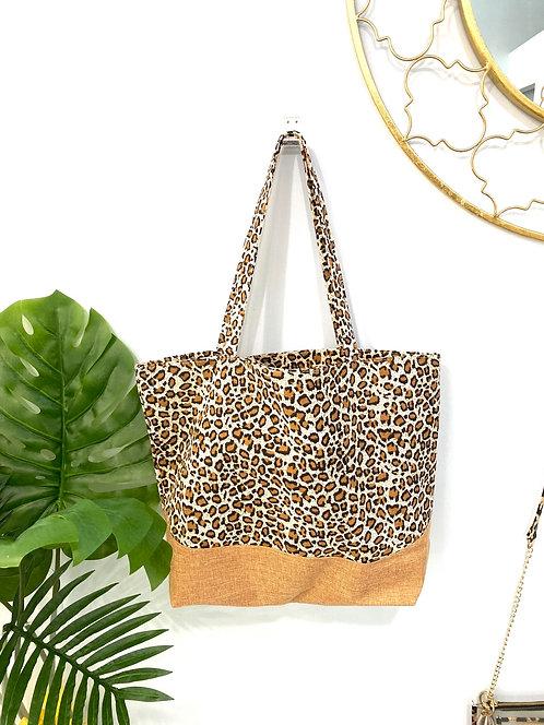 Leopard Canvas Beach Bag