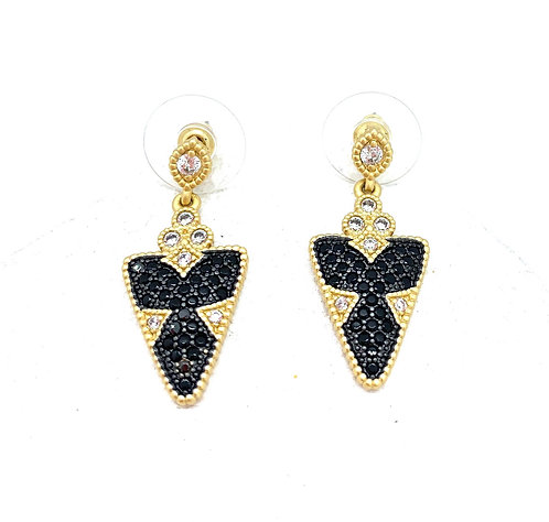 Blue CZ and Gold Earrings