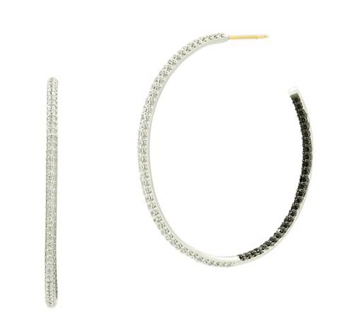 Freida Rothman Two-Tone Pavé Hoop Earring