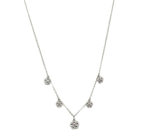 Mini Hanging Flowers Sterling Necklace