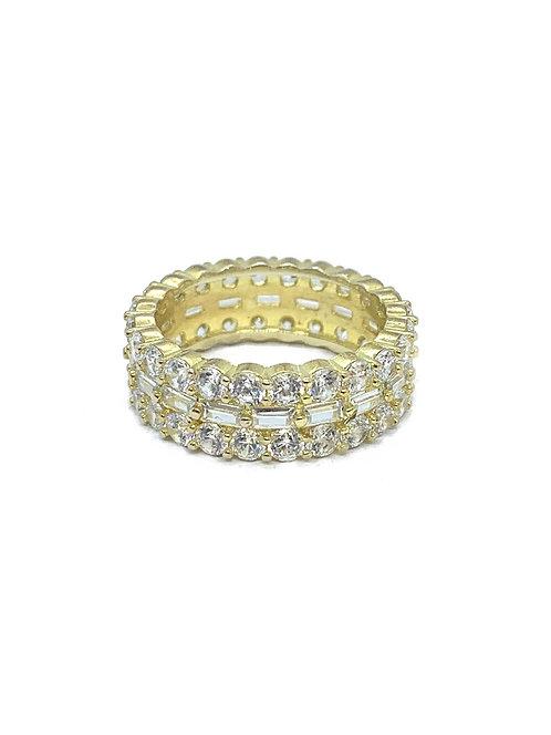 Sterling Gold Baguette Cz Ring