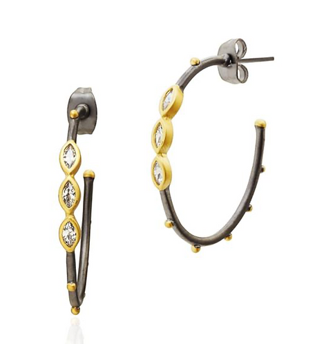 Freida Rothman The Perfect Oval Marquise Hoop Earrings