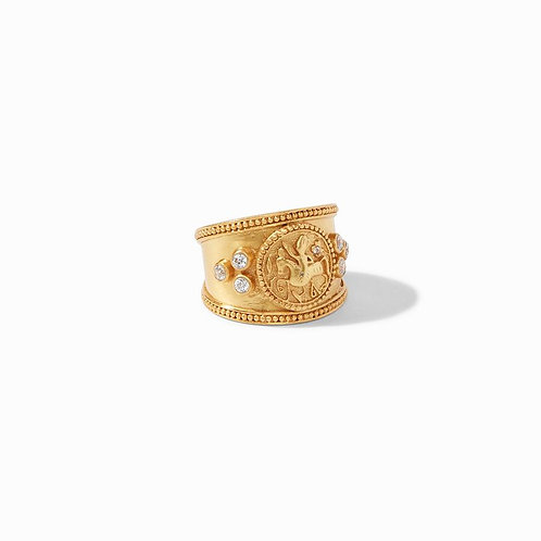 Julie Vos Coin Crest Ring CZ