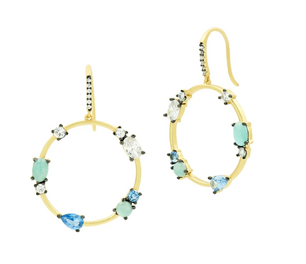 Freida Rothman Touch of Turquoise Open Hoop Earring