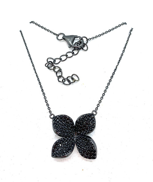 Black Rhodium CZ Floral necklace