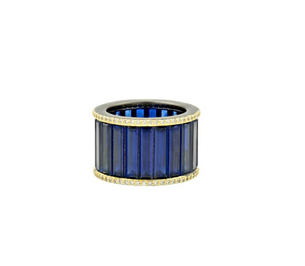 Midnight Baguette Cigar Band Ring