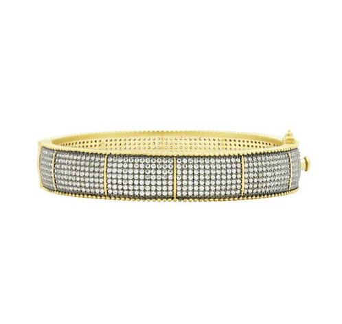 Freida Rothman Wide Pave Hinge Bangle