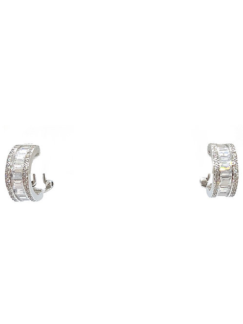 Sterling Baguette Cz Small Hoops