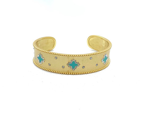 Matte Gold Open Cuff with Clovers