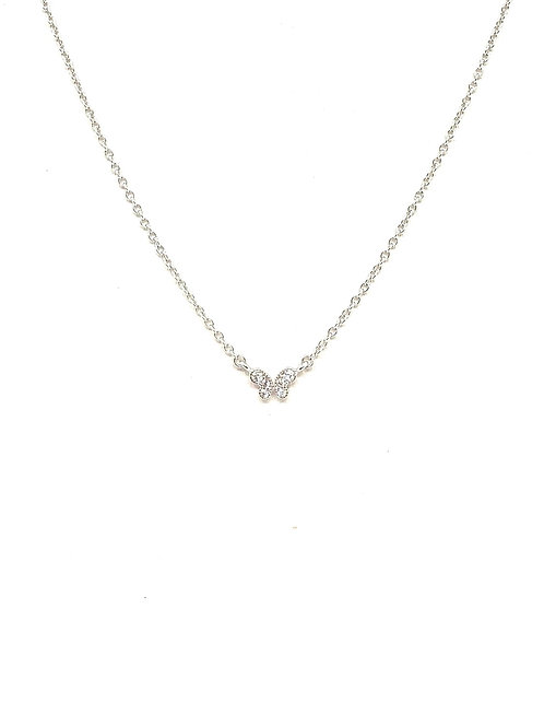 Sterling Cz Butterfly Necklace