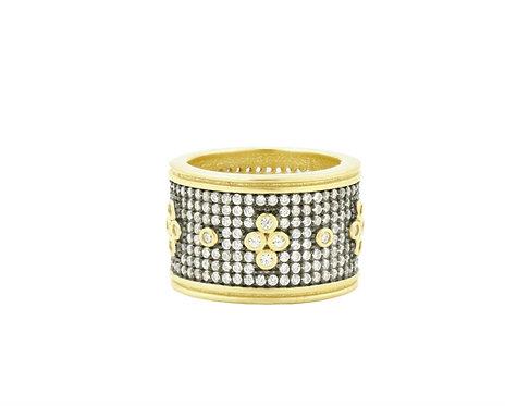 Freida Rothman Signature Pavé Clover Wide Band Ring