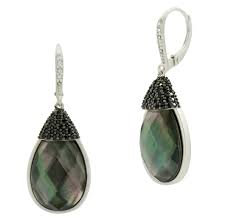 Freida Rothman Grey Mother of Pearl and Pave Leverback Earring
