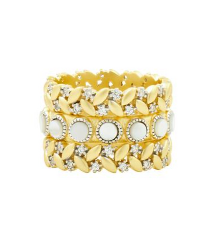 Freida Rothman Fleur Bloom Empire Mother of Pearl 3-Stack Ring