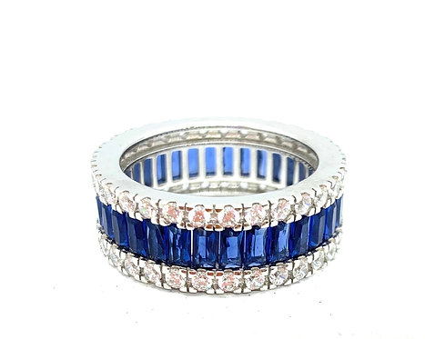 Sapphire And Cz Look Eternity Band