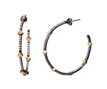 Freida Rothman Pavé Arrow Hoop Earrings