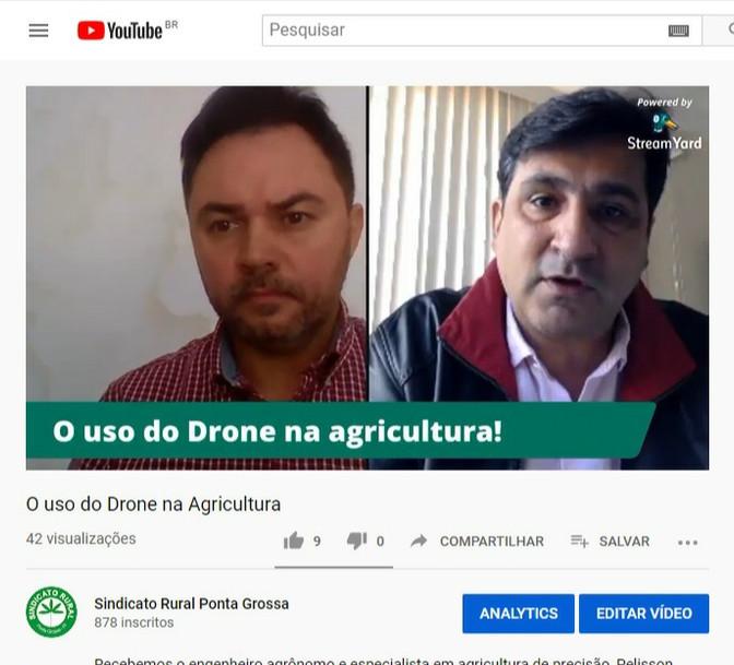 Sindicato Rural de Ponta Grossa traz o Drone como assunto do Quinta com Live