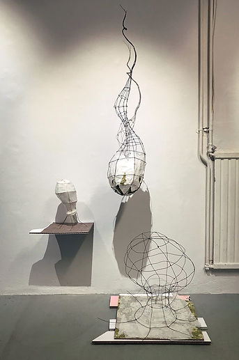 """Valerie Wilcox's art installation of sculptural wire and mixed media artwork, titled """"Beginnings, Middles and Ends"""""""