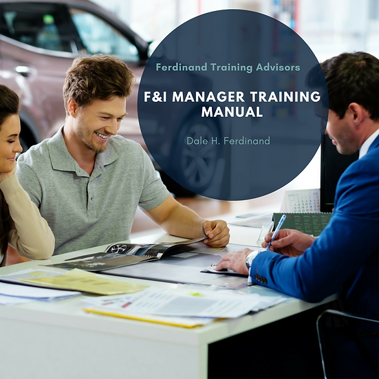 Automotive Industry - F&I - Finance and Insurance Manager Training Workbook