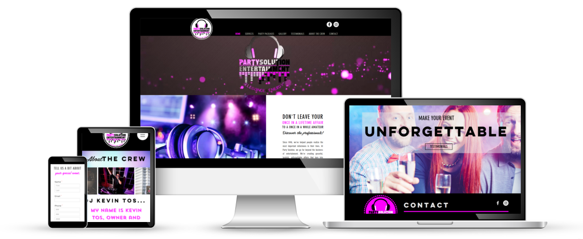 Party Solutions Entertainment web design