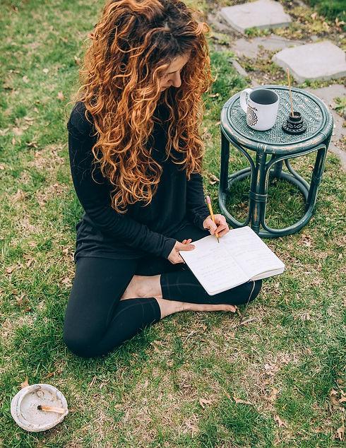 Closeup of Journaling in back yard.JPG