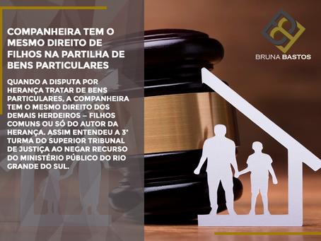 Companheira tem o mesmo direito de filhos na partilha de bens particulares