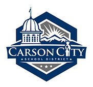 Carson City School DIstrict Logo. Includes capital building dome, mountains, and students.