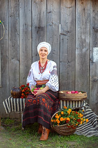 Beautiful woman portrait in ukrainian st