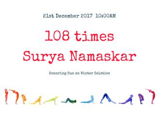 {Gurgaon/Workshop} 108 times Surya Namaskar 108回の太陽礼拝