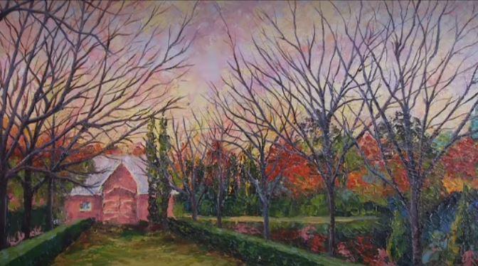 Grada's Painting Main House Hall Trees.J