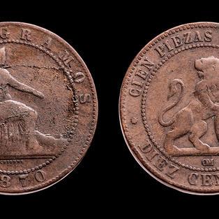 Moneda española con león (10 céntimos)