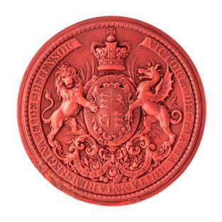 Escudo victoriano con león y dragón