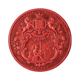 Escudo victoriano con león, unicornio y elefante