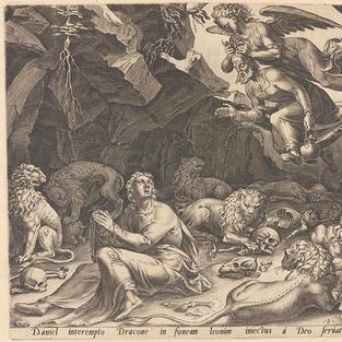 Historia de Daniel. Daniel en la cueva con los leones