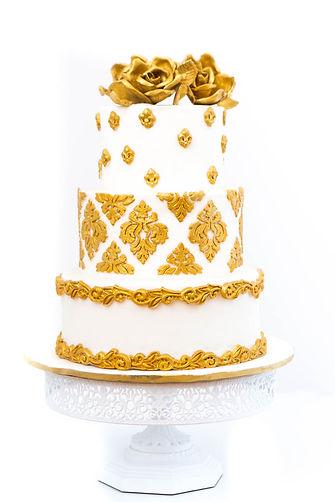 White and Gold Weddin Cake