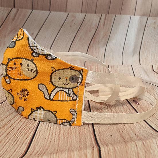 Kids Orange Cartoon Cats Mask