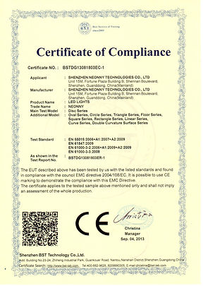 CE-EMC CERTIFICATE - LED LIGHTS