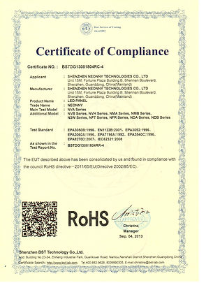 ROHS CERTIFICATE - LED PANEL