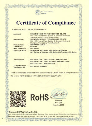 ROHS CERTIFICATE - LED PANEL LIGHTS