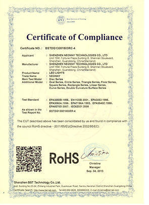 ROHS CERTIFICATE - LED LIGHTS