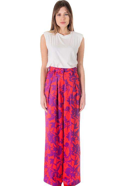 Pantalone con stampa viola/rossa vista frontale
