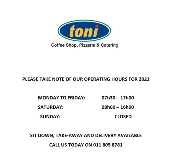 Toni Operating Hours 2021