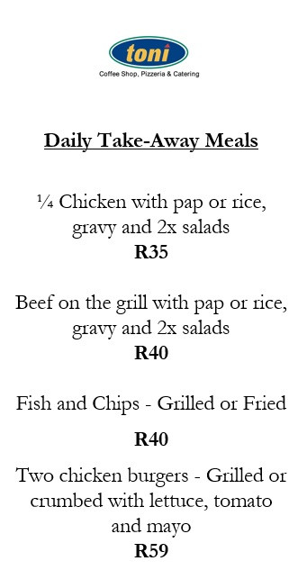 New Toni Take-Away Lunch Menu