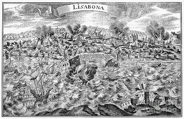 Portrayal of the Lisbon earthquake and the resulting destruction