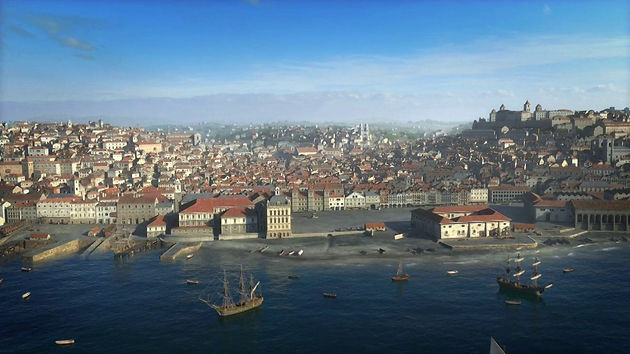 Computer generated reconstruction of the city of Lisbon before the earthquake of 1755