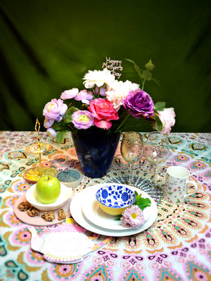 mothersday table setting with indian table cloth