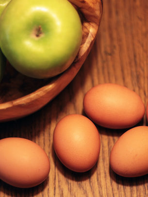 Eggs and apples still life