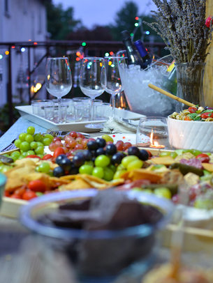 Rooftop party table setting