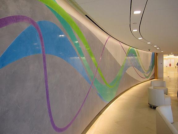 wave mural venetian stucco