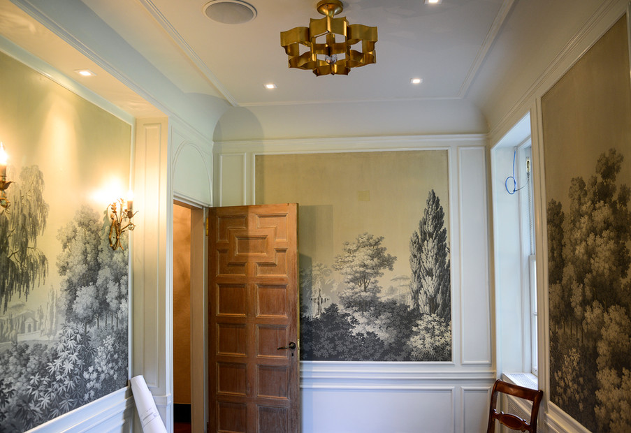 Historic Home Restoration - chinoiserie wallpaper and more at the 1920's classical revival home